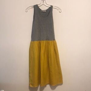 Beauty and youth gray and yellow flowy dress sz M
